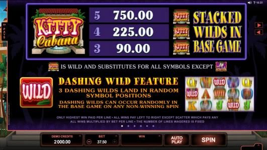Casino Mate featuring the Video Slots Kitty Cabana with a maximum payout of $110,000