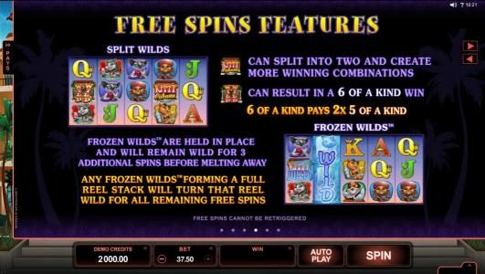 Free Spins Feature - Split Wilds - Wilds can split into two and create more winning combinations. Frozen Wilds are held in place and will remain wild for 3 additional spins before melting away