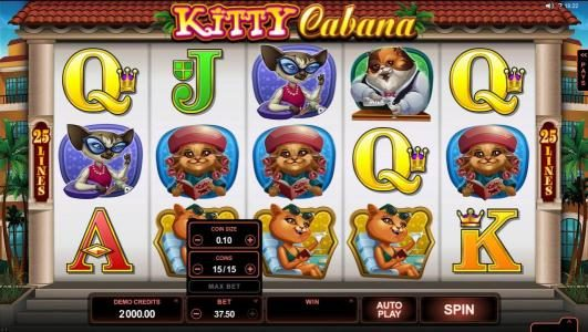 Casino Red Kings featuring the Video Slots Kitty Cabana with a maximum payout of $110,000