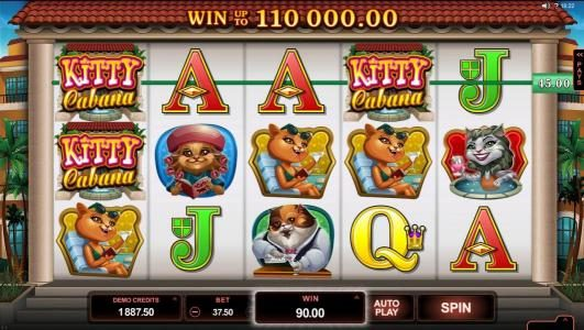 VipSpel featuring the Video Slots Kitty Cabana with a maximum payout of $110,000