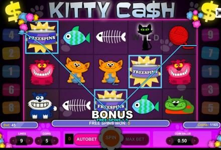 Winstar featuring the Video Slots Kitty Cash with a maximum payout of $3,750