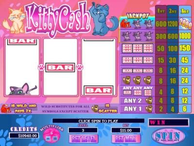 Kitty Cash :: Main game board featuring three reels and 1 payline with a $2,000 max payout