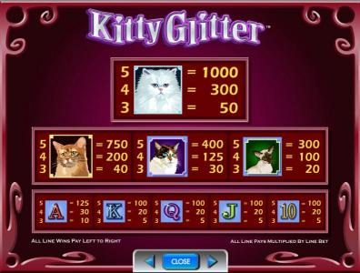 Vera&John featuring the Video Slots Kitty Glitter with a maximum payout of $250,000