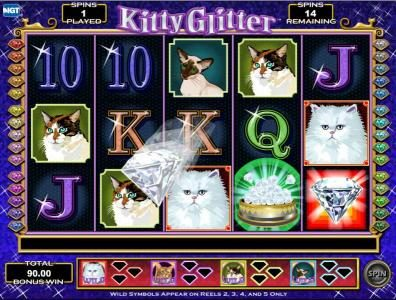 free spins feature game board - collect diamonds to earn more wild symbols