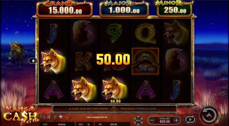 Kanga Cash Extra :: A three of a kind win