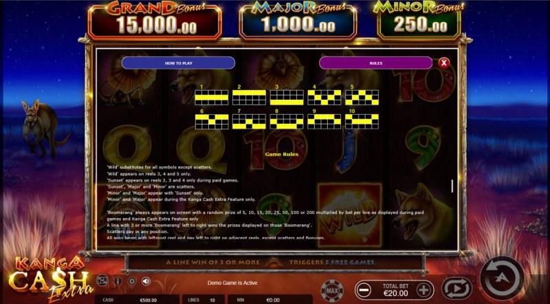 Kanga Cash Extra :: General Game Rules