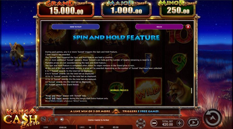 Kanga Cash Extra :: Spin and Hold Feature