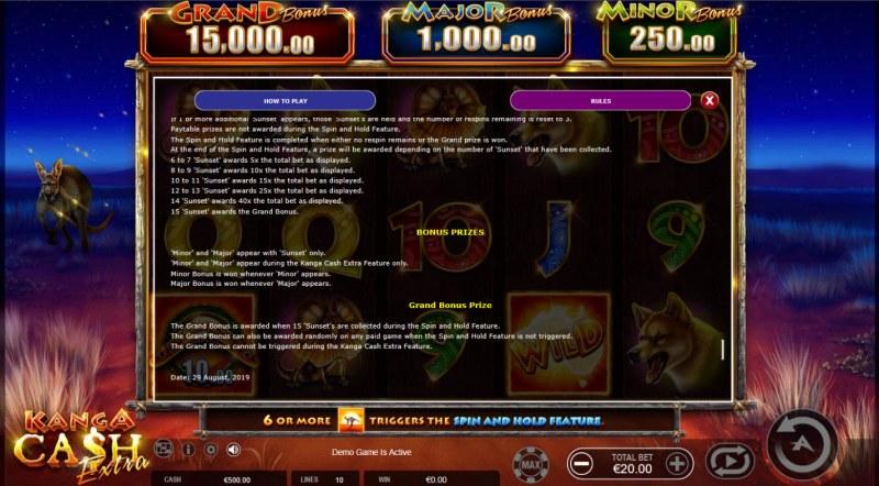 Kanga Cash Extra :: Prizes
