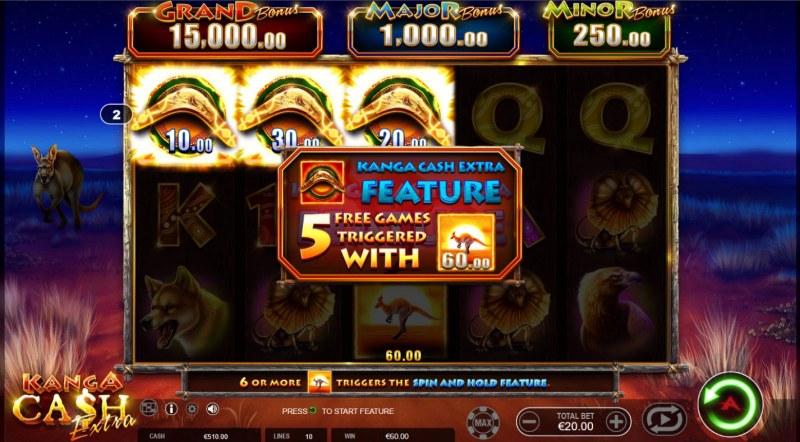 Kanga Cash Extra :: 5 free spins awarded