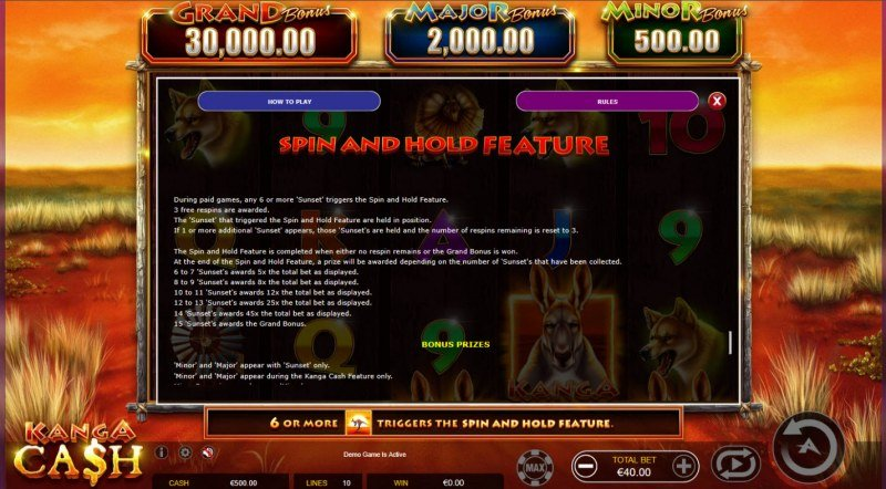 Kanga Cash :: Spin and Hold Feature