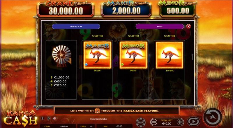 Kanga Cash :: Feature Paytable