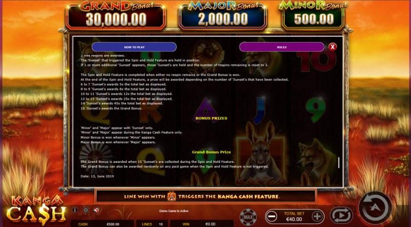 Kanga Cash :: Prizes