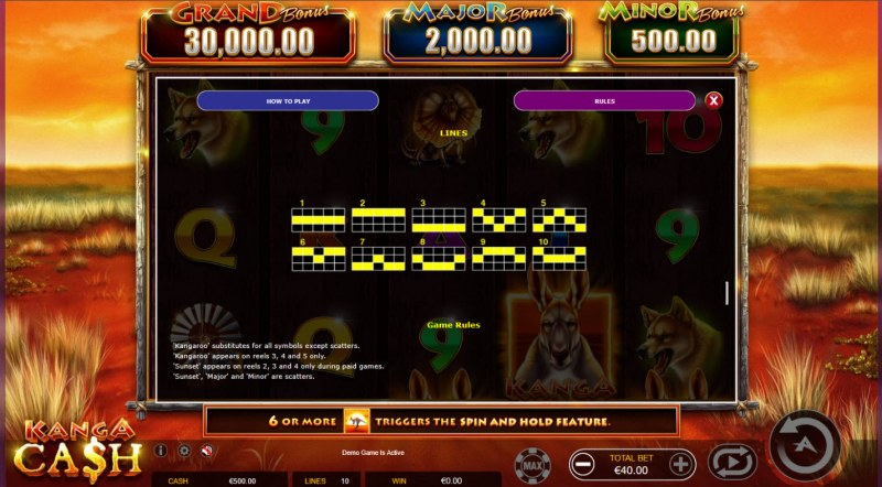 Kanga Cash :: Paylines 1-10