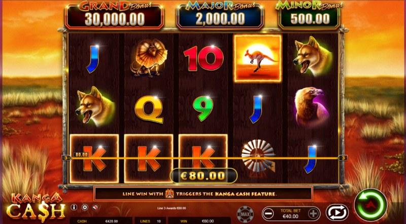 Kanga Cash :: A three of a kind win