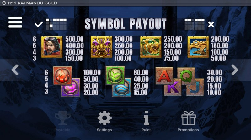 Katmandu Gold :: Paytable