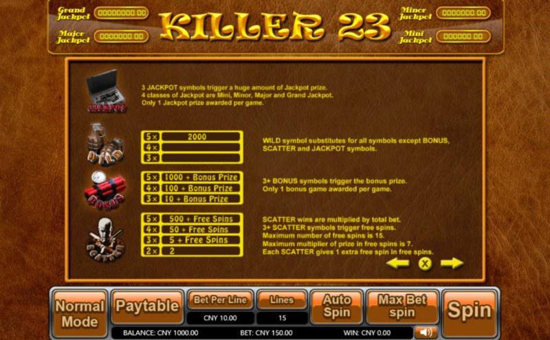 Killer 23 :: Bonus, Jackpot, Scatter and Wild Rules
