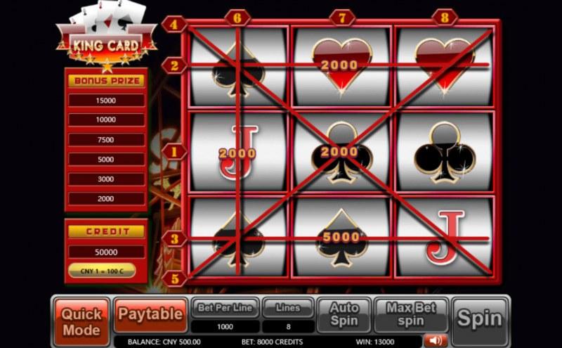 King Card :: Multiple winning paylines