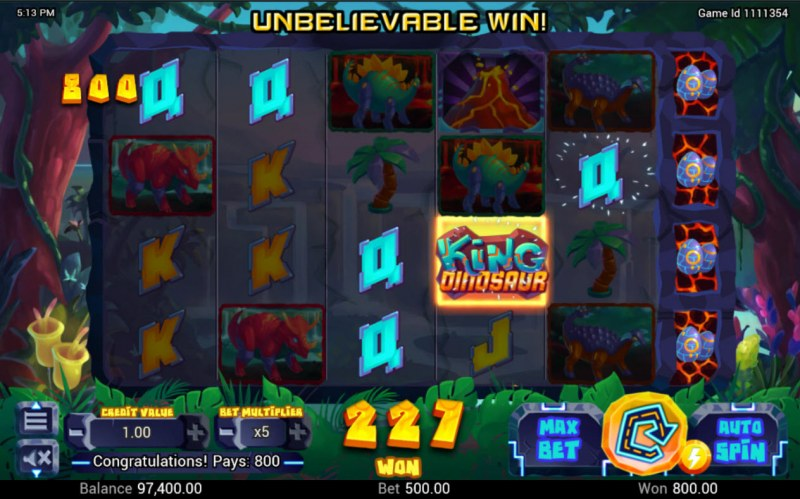 King Dinosaur :: A five of a kind win