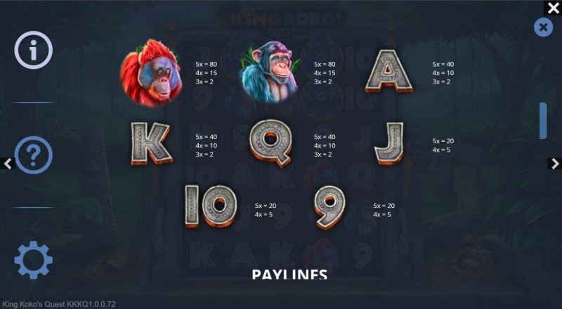 King Koko's Quest :: Paytable