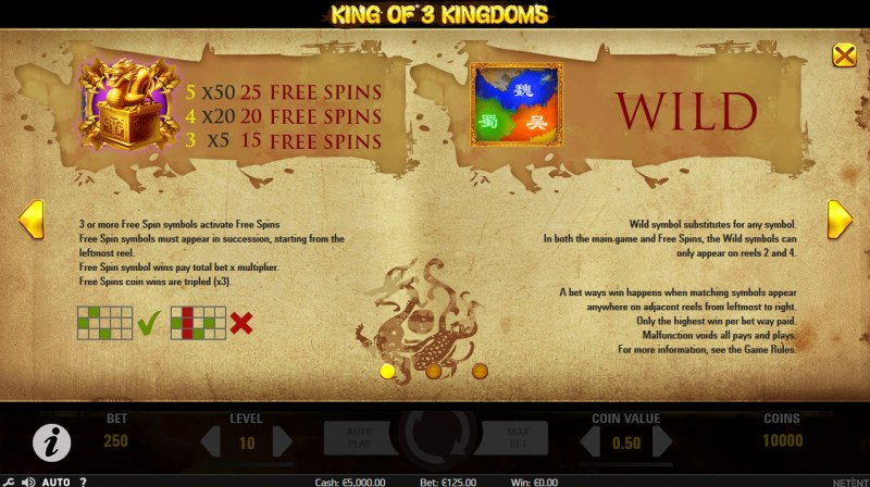 King of 3 Kingdoms :: Wild and Scatter Rules