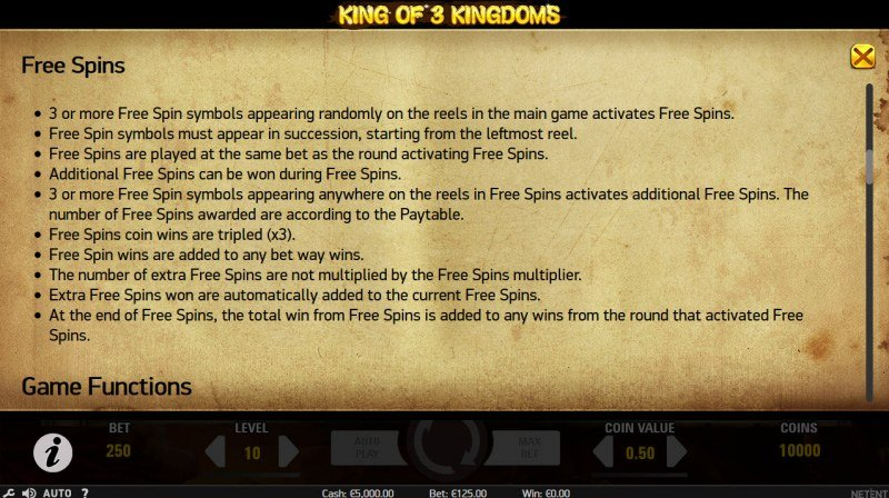 King of 3 Kingdoms :: Free Spins Rules