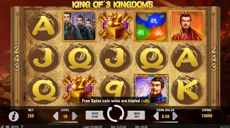 Play slots at Sapphire Rooms: Sapphire Rooms featuring the Video Slots King of 3 Kingdoms with a maximum payout of $96,000