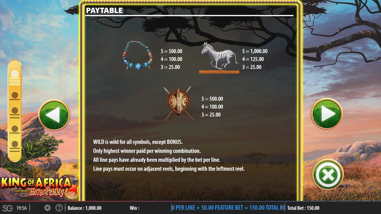 King of Africa :: Paytable - Low Value Symbols