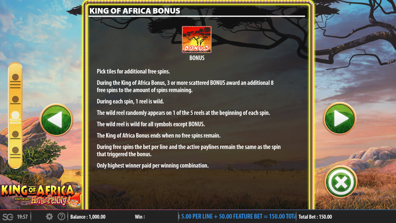 King of Africa :: Feature Rules