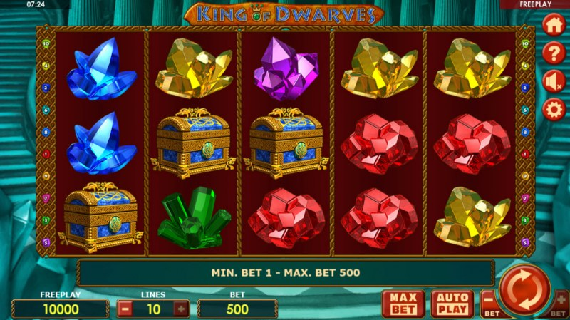 Play slots at King Billy: King Billy featuring the Video Slots King of Dwarves with a maximum payout of $50,000