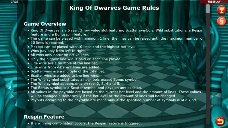 King of Dwarves :: General Game Rules
