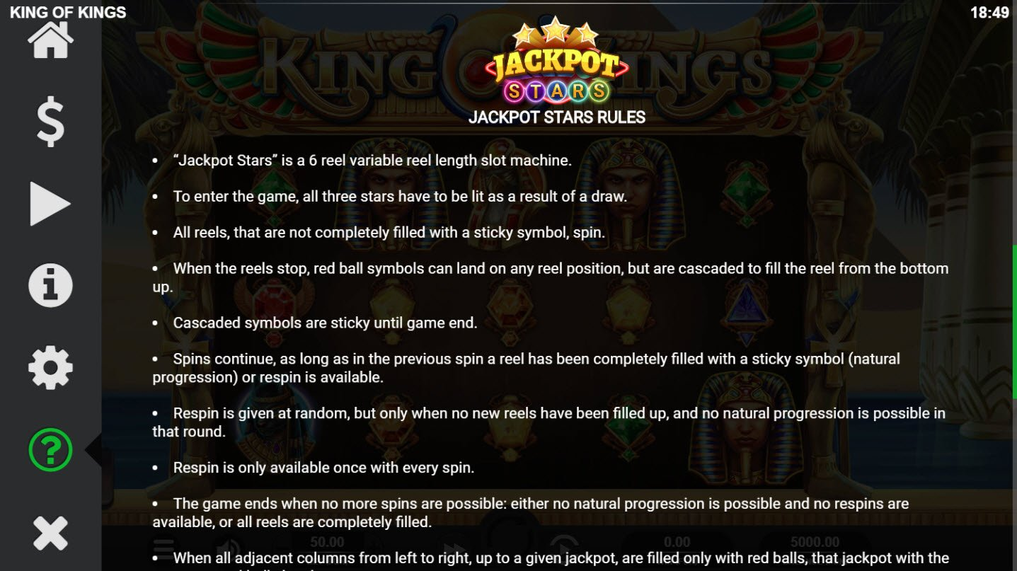 King of Kings :: Jackpot Rules