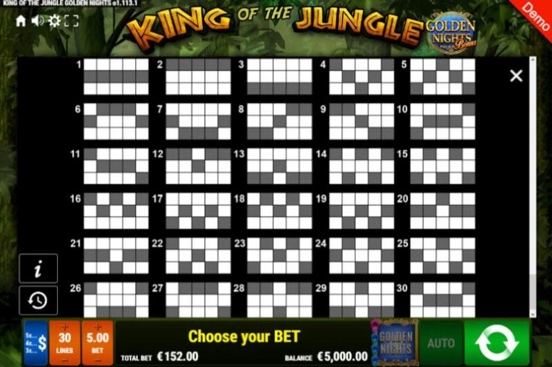 King of the Jungle Golden Nights Bonus :: Paylines 1-30