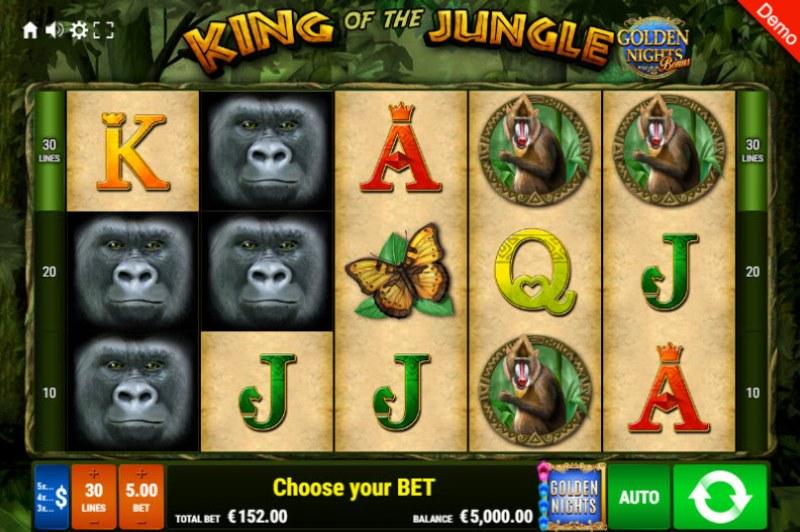 King of the Jungle Golden Nights Bonus :: Main Game Board