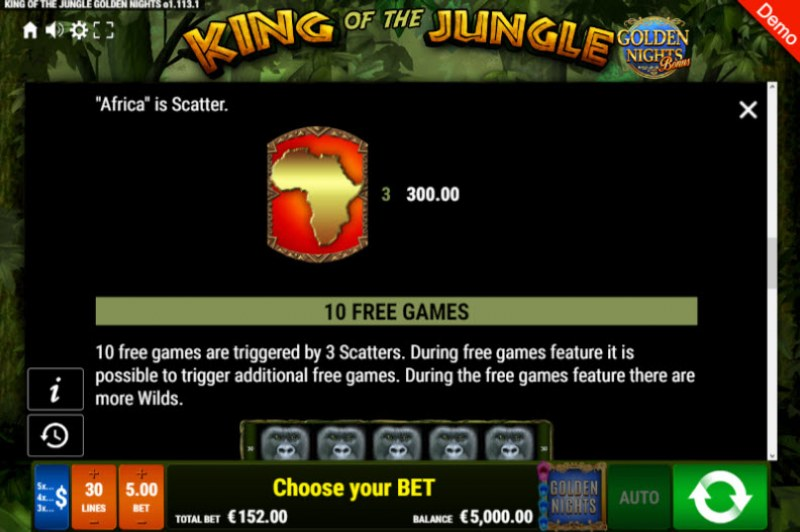 King of the Jungle Golden Nights Bonus :: Free Spins Rules