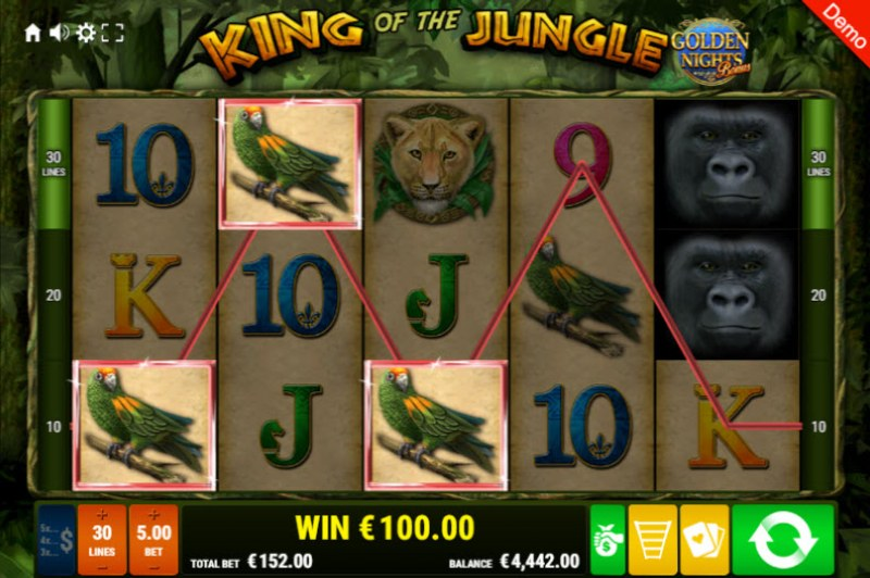 King of the Jungle Golden Nights Bonus :: A three of a kind win