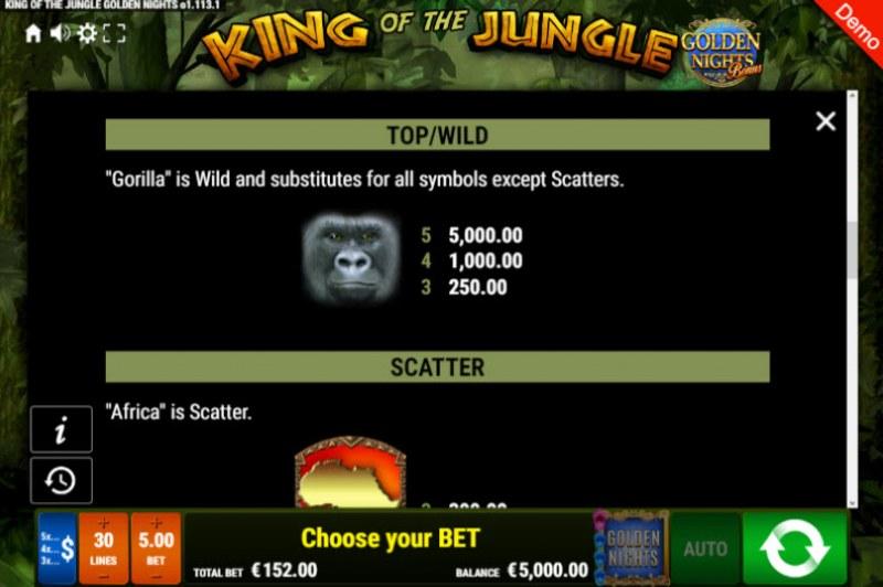King of the Jungle Golden Nights Bonus :: Wild Symbols Rules