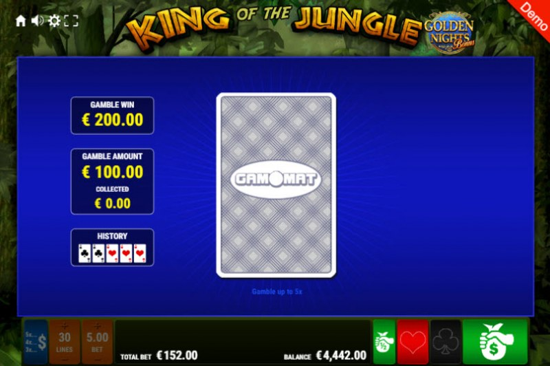 King of the Jungle Golden Nights Bonus :: Red or Black Gamble Feature
