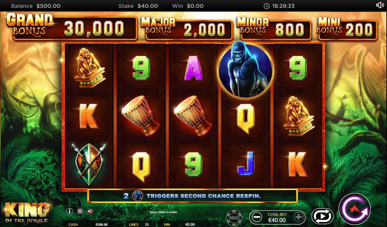 Play slots at Casinia: Casinia featuring the Video Slots King of the Jungle with a maximum payout of $8,000