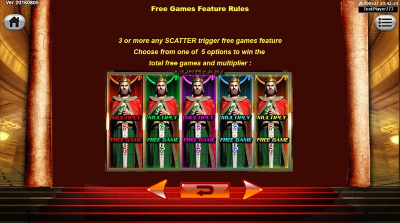King the Lionheart :: Free Spins Rules
