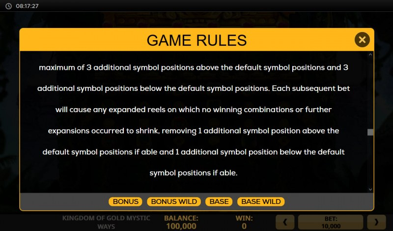 Kingdom of Gold Mystic Ways :: Feature Rules