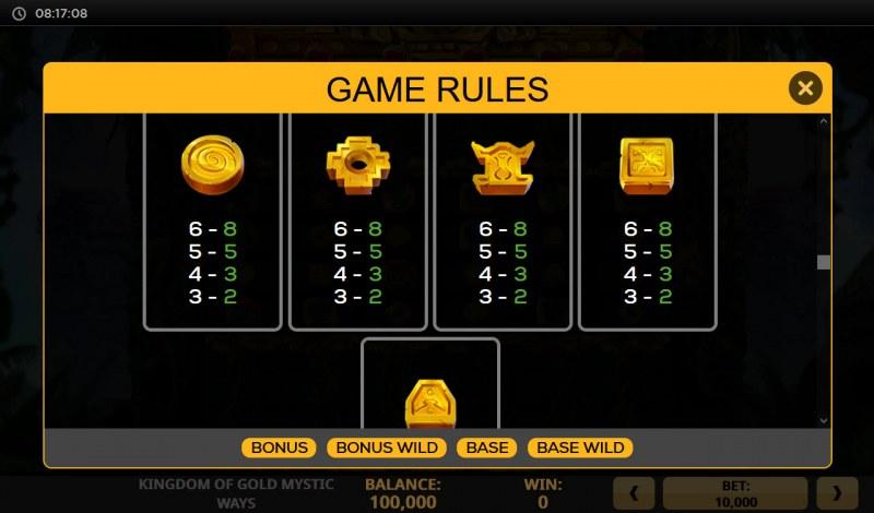 Kingdom of Gold Mystic Ways :: Paytable - Low Value Symbols