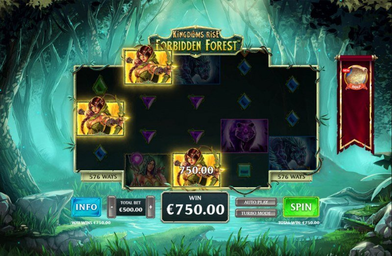 Kingdom Rise Forbidden Forest :: A three of a kind win