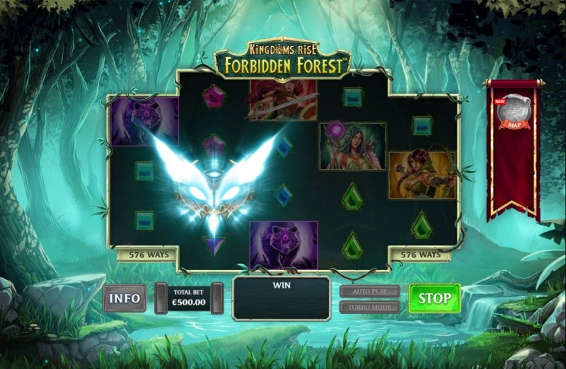 Kingdom Rise Forbidden Forest :: Respin Feature is activated after landing a gold owl mask