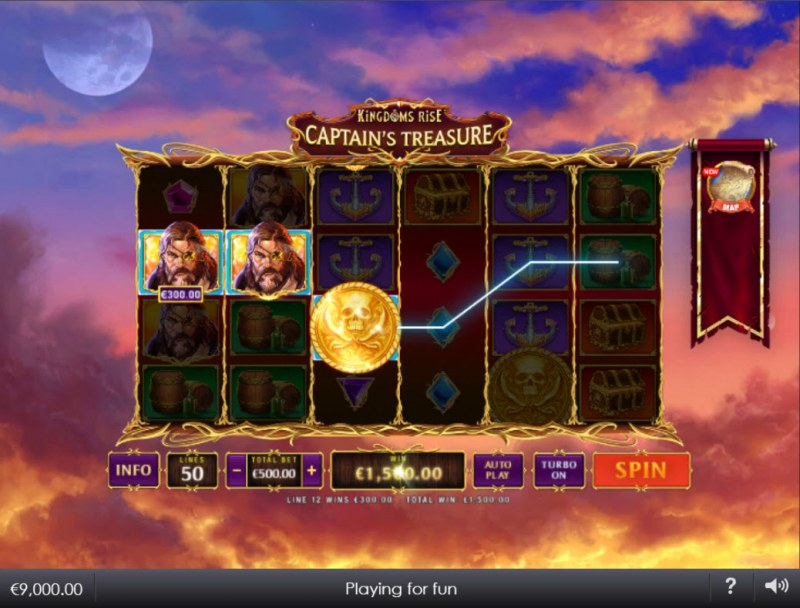 Kingdoms Rise Captain's Treasure :: A three of a kind win