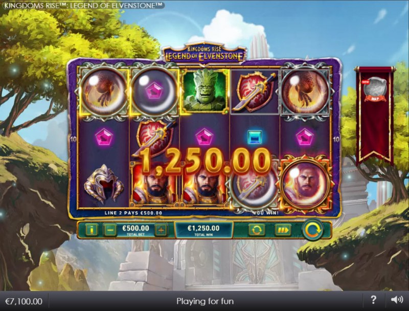 Kingdoms Rise Legend of Elvenstone :: Wild Drop feature triggers multiple winning pay lines