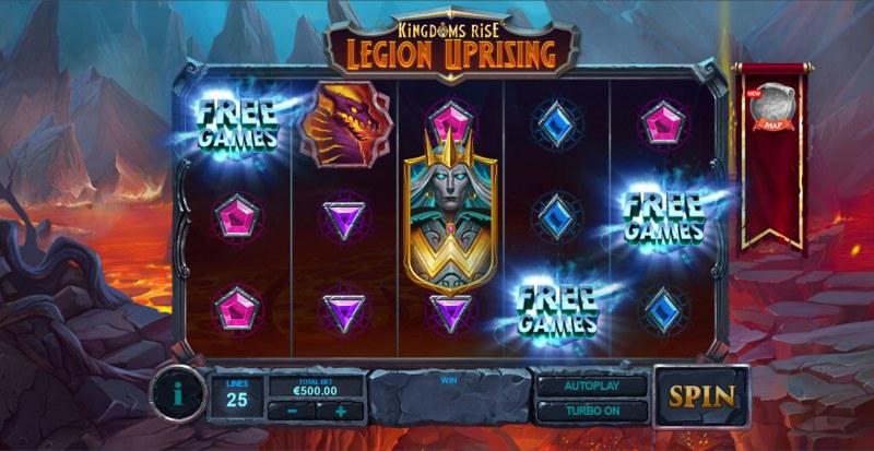 Kingdoms Rise Legion Uprising :: Scatter symbols triggers the free spins bonus feature