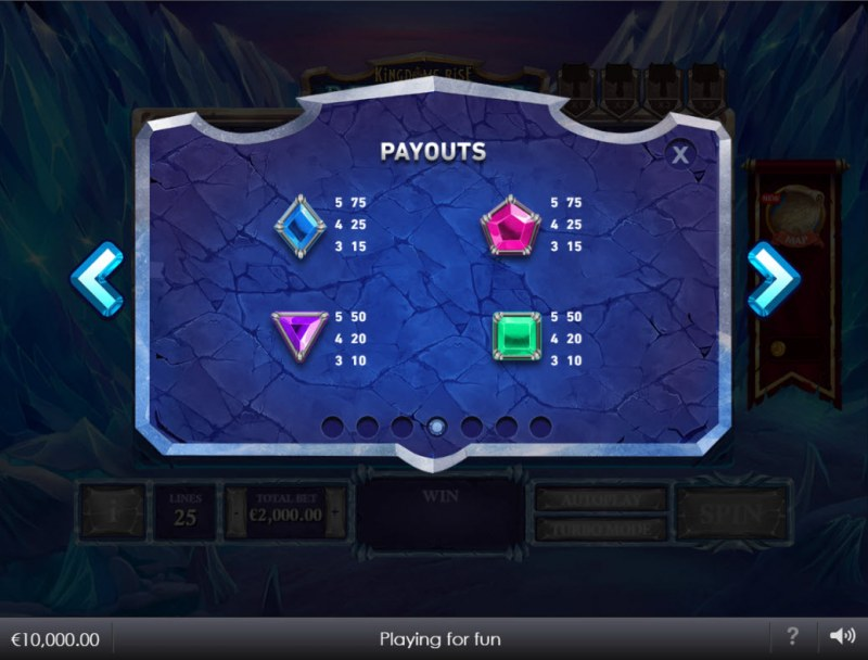 Kingdoms Rise Reign of Ice :: Paytable - Low Value Symbols