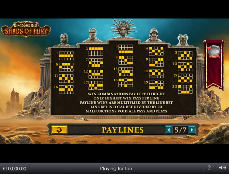 Kingdoms Rise Sands of Fury :: Paylines 1-20