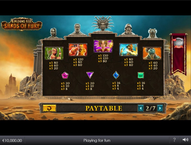 Kingdoms Rise Sands of Fury :: Paytable