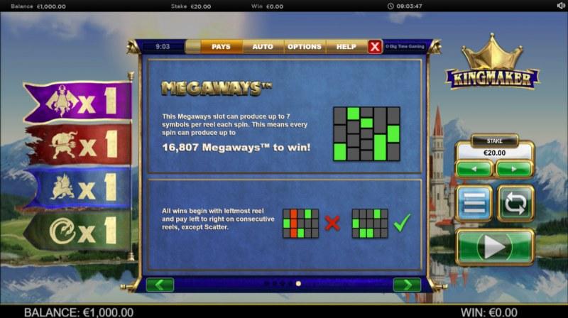 Kingmaker Megaways :: 243 Ways to Win
